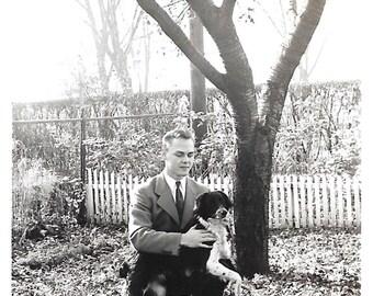 """Vintage Snapshot """"Man's Best Friend"""" Border Collie Dog Handsome Teenage Boy Found Vernacular Photo"""