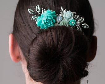 Seafoam Wedding Hair Accessories Silver Bridal Comb Turquoise Hair Slide Mint Boho Chic Romantic Flower Headpiece Elegant Hair Pin