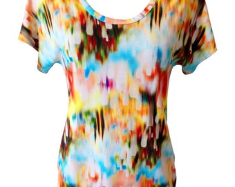 Colorful Summer Shirt, Plus Size Shirt, Cotton Shirt, Printed Shirt, Women Shirt, Designers Shirt, Rainbow Colors