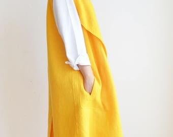 Felt Yellow Wool Vest Coat, Unique woman clothing, Kimono vest jacket. Boil trench coat jacket, Modern Lagenlook statement