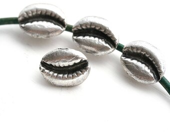 4pc Silver Cowry shell beads, Antique Silver Metal seashell charms, Greek casting, seashell beads - 2595