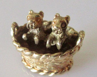 Vintage Gold Puppies in Basket Charm