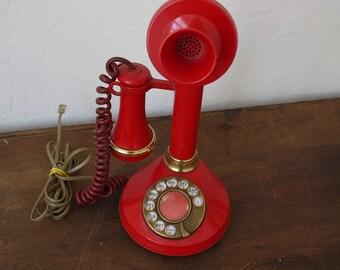 Vintage Candlestick Phone / Vintage Red Candlestick phone / Rotary dial red phone /  Vintage Telephone / Vintage Phone / 1970s phone