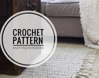 Crochet Pattern | Rug With Tassels Home Decor Cozy Area Mat / Easy Beginner Crocheting Pattern Wool