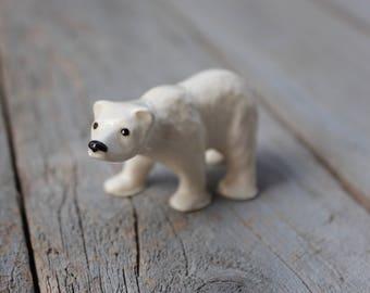 Polar Bear Miniature Figurine, Winter Decor, Terrarium Animal, Hagen Renaker, Mama Bear