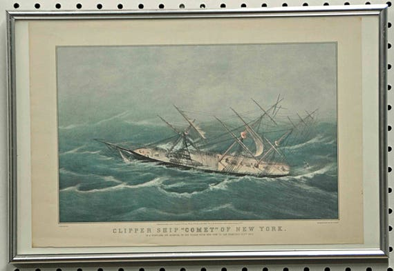 "Vintage Art Print N. Currier CLIPPER SHIP ""COMET"" By C. Parsons, Del. In Color, Reprinted From Lith. by N. Currier, Framed In Exc Condition"