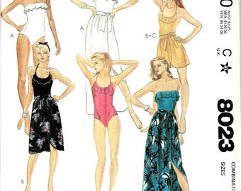 1980s Swimsuit Pattern, Bathing Suit Pattern, Beach Cover Up, Beach Skirt, Strapless Bathing Suit, 80s Beachwear, Size 6 8 10, Bust 30 to 32