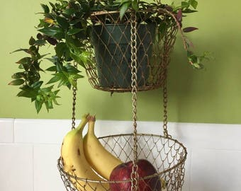 Mesh Wire Hanging Basket / 2 Tier Basket
