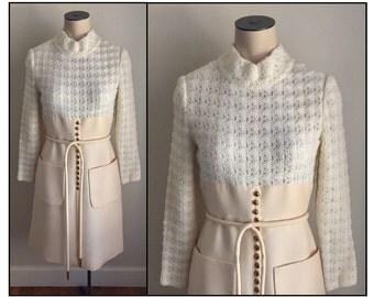 Vintage 1960s Misses' Pat Sandler Ivory Sweater Dress XS 0 2