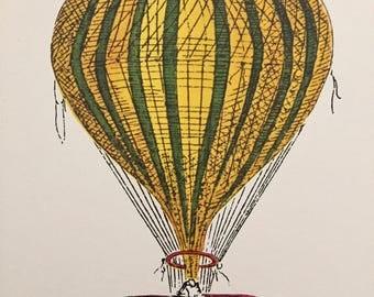Vintage 1960s Antique Hot Air Balloon Lithograph Unframed 4 x 5 Cunningham