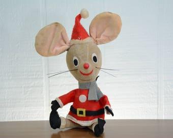Mid Century Dakin Christmas Santa Mouse by Dream Pets