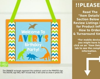 Dinosaur Party Welcome Sign - Dino Welcome Sign - Personalized Party Sign - Dinosaur Party Sign - Available Digital and Printed