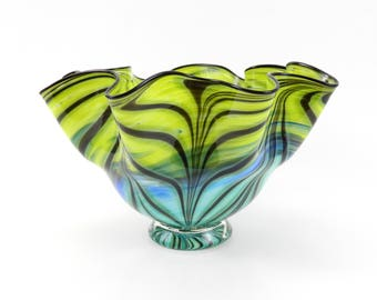 LARGE Hand Blown Glass Bowl