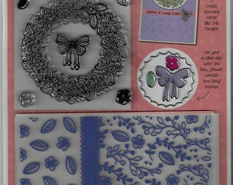 FLORAL WISHES~Have a Lovely Day!~Embossing Folder, Outline Dies and Stamp Set~Elegant Card-Making Accents~New in Package