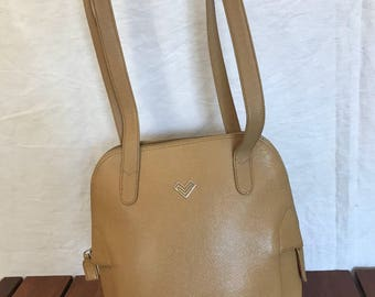 MARIO VALENTINO Great Vintage Authentic Tan Leather Shoulder Bag Made in Italy