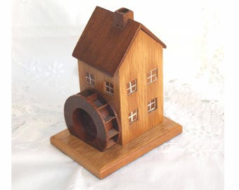 Pastille burner. Cornish hand made pastille burner. Wood watermill pastill burner. wood watermill