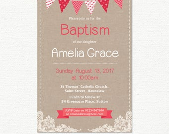 Baptism Invitation, Christening Invitation, Girls Baby Babies, Red Sweetheart Bunting & Lace, Childrens Shabby Chic, Digital file