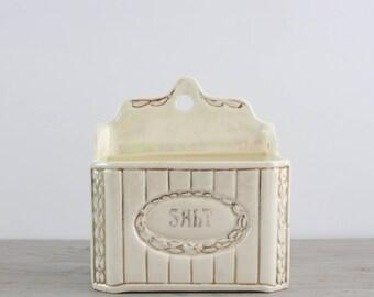 Vintage Lusterware Salt Box Crock - Czechoslovakia Porcelain Wall Mount Salt Cellar