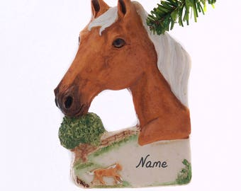 Palomino Horse Resin Christmas Ornament Hand Made in the USA Personalized With Your Choice of Name and or Year Gift Box Included (463)