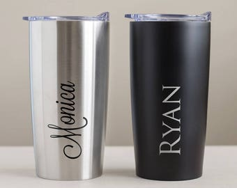 Custom Engraved Stainless Steel Tumbler: Engraved Tumbler, Bridesmaid Gifts, Personalized Tumbler, Personalized Travel Mug, SHIPS FAST
