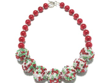 Toddler or Girls Red, White and Green Chunky Necklace - Bling and Pearl Sparkle Chunky Necklace - Christmas Necklace - Red Chunky Necklace