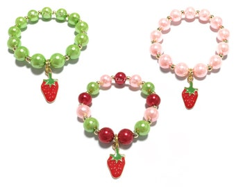 Toddler or Girls Small Beaded Strawberry Charm Bracelet - Girls Red, Green and Pink Bracelet - Red Strawberry Bracelet - Fruit Bracelet