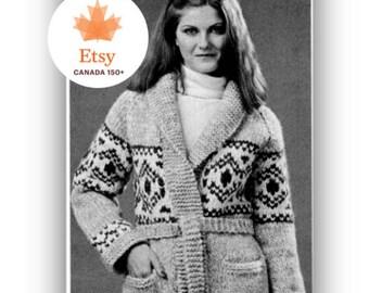 Cowichan Sweater Pattern Happy Birthday Canada Special -Vintage Knitting Digital Knitting Pattern