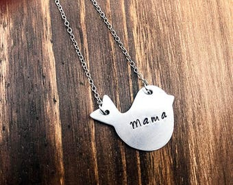 Mama Bird Necklace / Hand Stamped Necklace / Mama Necklace
