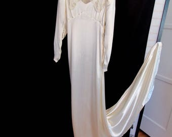 Vintage 30s/ 40s Antique Ivory Silk Charmeuse Harlow Wedding Dress Bridal Gown Dress Ladies XXS size 0