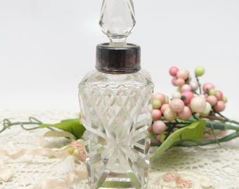 Antique 1907 English Cut Glass Perfume Bottle with Sterling Silver Collar Mount with Hallmarks, Henry Perkins & Son London