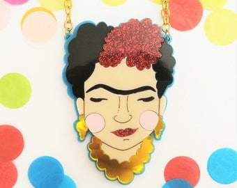 PREORDER* Frida Kahlo perspex necklace (Blue and mirror)