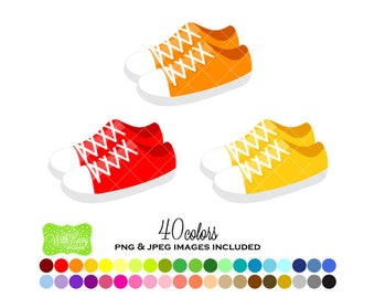SALE Sneaker Digital Clipart - Rainbow Tennis Shoe Clipart - Shoe Clipart - Sneaker Graphics - Personal and Commercial Use