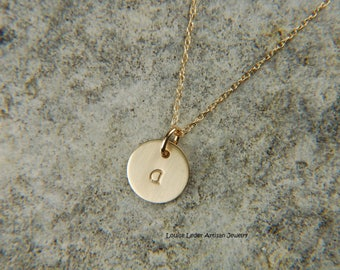 14K Gold Initial Necklace 8 mm Dainty Gold Necklace Personalized Gold Necklace Solid Gold Charm Necklace