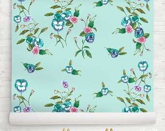 Nursery Wallpaper Vintage Style Floral Watercolour Pansy Peony Botanical Wallpaper. Sample Swatch or Order by the Roll. Ships from USA