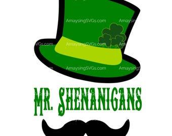 SVG - Mr Shenanigans svg - St Patrick's Day svg - St Patricks Day tshirt svg - Leprechaun hat svg - Leprechaun moustache svg - Boy shirt svg