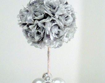 Silver Flower Ball, Kissing Ball, Silver Topiary Centerpiece, Wedding Centerpiece, Pomander, Silk Flowers