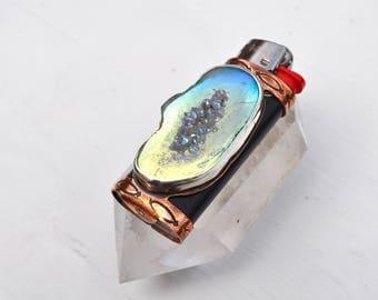 Titanium Agate Geode Lighter Case