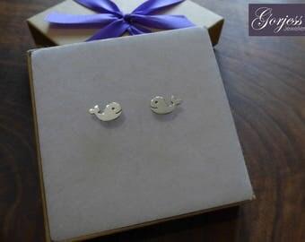 Handmade Whale Earrings - Silver Whale Studs - Whale Earrings - Sea Life Earrings