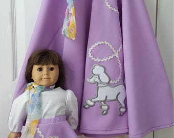Little Girls Poodle skirt with Matching Doll Outfit