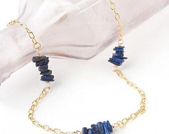 Lapis Lazuli Necklace - Blue Lapis Lazuli Gemstone Necklace - September Birthstone - Layering Necklace - Gift Ideas for Sister Birthday