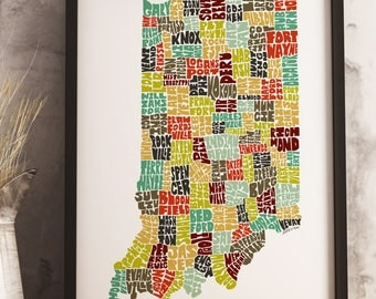 Indiana map art print, available Framed or Unframed, Indiana typography art, Indiana art print, Indiana state map, Indiana wall décor