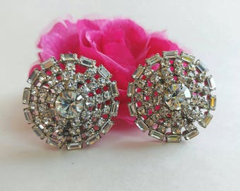 Vintage Circular Crystal Clear Rhinestone Clip On Earrings- Retro Elegant Simple Circle Bling Geometric Big Domed Silver Tone Glamorous