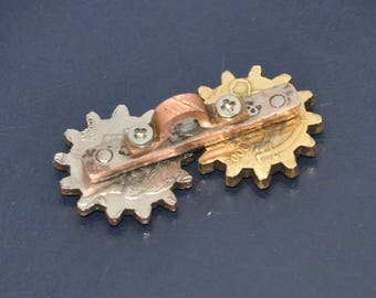 Handcrafted Forex pair spinner fidget Steampunk masterpiece Gears of business Key fob