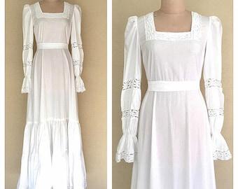Laura Ashley dress | vintage 1970s bohemian wedding dress | 70s white cotton maxi dress | s