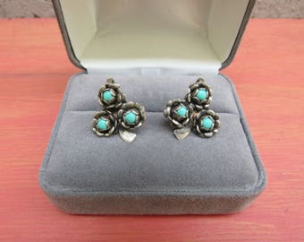 Southwestern Clip On Earrings Turquoise Clover Earrings Sterling Silver Vintage Mexican Jewelry