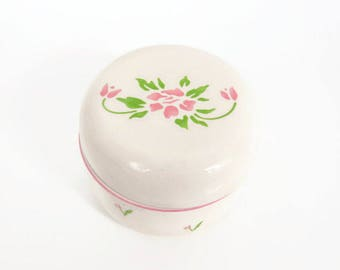 Vintage Pink Tulip Trinket Box Jewelry Box with Lid Made in Japan 1985 Teleflora Ring Holder