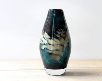 Modern art glass vintage vase / dark turquoise green hand blown glass / abstract art vase / modern abstract home decor glass collectible