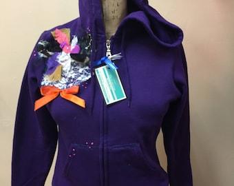 Purple Embellished Hoodie