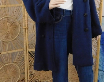 Item# 2012-48 Trench Coat Short, Navy-Scarf Included