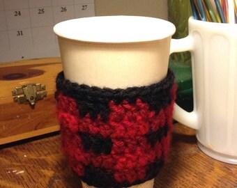Buffalo Plaid Coffee Sleeve Cup Cozy Red and Black Crochet Handmade
